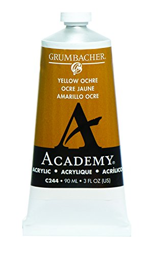Grumbacher Academy Acrylic Paint, 90ml/3 oz Metal Tube, Yellow Ochre Light Hue