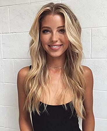 Amazon Com Sunny 7a U Part Wig 100 Brazilian Remy Human Hair Body Wavy With Clips Free Part Ash Blonde Mixed Bleach Blonde Highlighted Wigs For Women