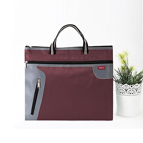 Chris.W 1Pack Zippered Canvas Document Storage Bag for A4/US letter Size Files/Bills/Documents/Tablets, Meeting&Business Trip Handbag/Briefcase/Holder/Organizer with Top Handle(Coffee)