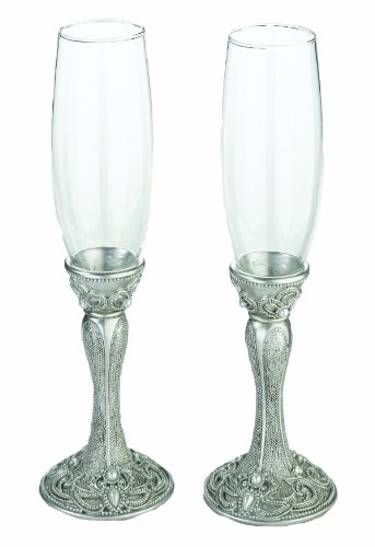 Lillian Rose Elegant Vintage Silver Wedding Toasting Glasses (Rose Silver Vintage)