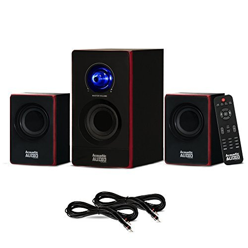 Acoustic Audio AA2103 Bluetooth Home 2.1 Speaker System and 2 Extension Cables for Multimedia by Acoustic Audio by Goldwood