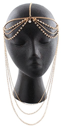 Goldtone-with-Clear-Iced-Out-Double-Row-with-Dangling-Chains-Adjustable-Head-Chain-J-497