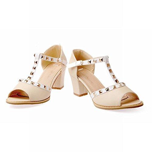 Charm Foot Womens Sweet T Strap Peep Toe Rivetti Sandali Con Tacco Pesante Beige