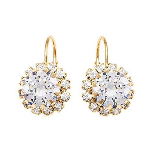 Gold & Crystal Flower Earrings Made with Swarovski Elements (White) ()