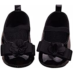 Coper Infant Baby Girls Soft Bow Shoes With Flowers (Black, 12~18 Month)
