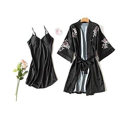 OME&QIUMEI Pijamas Mujer Pijamas Verano Siete Mangas De Punto De Seda Tirantes Pastillas Pastillas Para Dormir