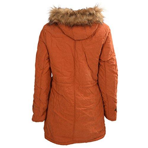 TOOGOO (R)Mujer Abrigo largo de acolchado grueso de invierno de piel encapuchado Ropa exterior Chaqueta -Naranja-M