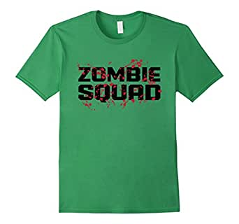 Mens Zombie Squad - funny bloody horror undead killer t-shirt 2XL Grass