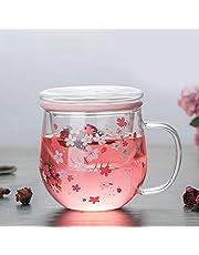 Topzon Transparente Taza de té - 300ml Transparente Resistente al Calor de Vidrio Taza con té Tapa del Filtro