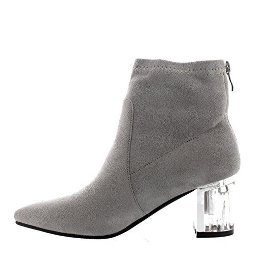 Mujer Plexiglás Talón De Bloque Cremallera Moda Zapatos Dedo Puntiagudo Botines Ante Gris