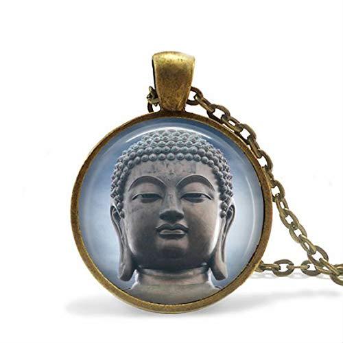 Collier bouddha avec pendentifs bleus en verre d/ôme fait /à la main