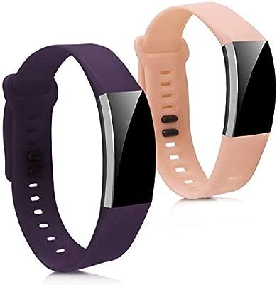 kwmobile 2X Pulsera para Huawei Band 2 / Band 2 Pro - Brazalete de Silicona Violeta/Rosa Palo sin Fitness Tracker