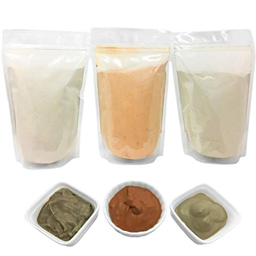Bentonite (Indian Healing), Moroccan (Red-Rhassoul), and European (French-Green) Clay Powder - 3 multipak/set for making mud masks for skin, hair, face/facials and body by Bare Essentials Living