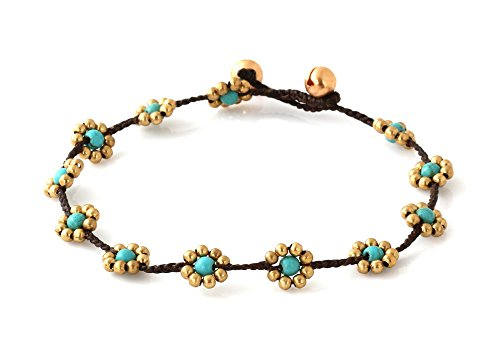 MGD, Blue Turquoise Color Bead and Brass Bell Anklet. Beautiful Handmade Brass Flower Anklet. Small Anklets. Ankle Bracelet. Fashion Jewelry for Women…