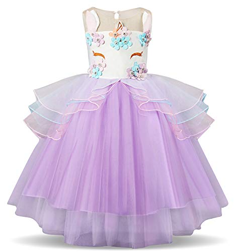 TTYAOVO Kids Unicorn Costume Dress Girl Princess Flower Pageant Party Tutu Dresses Size 3-4 Years Purple