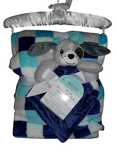 Baby's First by Nemcor Adorable Dog Nunu and Blanket Checkered Blue ()