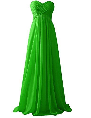 Jaeden Robe Bustier Robe De Demoiselle D'honneur Du Parti Bal Longue En Mousseline De Soie Vert Lime