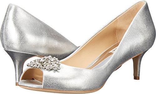 Badgley Mischka Women's Layla Silver Metallic Suede 6 M (Satin Sandal Rhinestone Ornament)