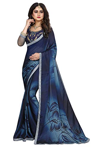 Gaurangi Creation Women's Satin Chiffon Printed Casual Wear Indian Ethnic Dark Blue Saree With Unstitched Fancy Blouse Piece