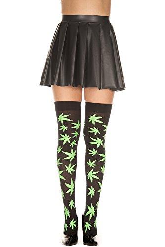 MUSIC LEGS Women's Leaf Print Thigh High, Black/Green, One Size