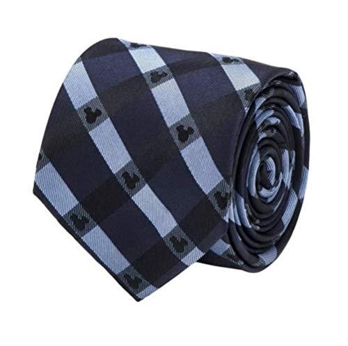 Silk Ties Necktie Logo (Disney Mickey Mouse Logo Blue Plaid Tie Necktie Neckwear)