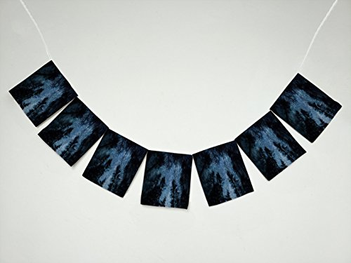 (Beautiful Night Sky Spiral Star Trails and Forest Tree Banner Bunting Garland Flag Sign for Home Family Party)