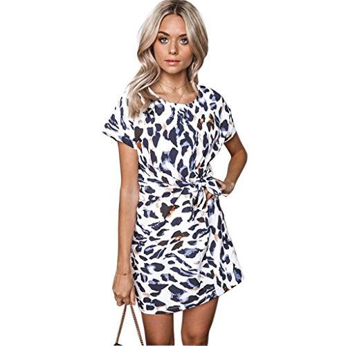 Toimothcn Women Summer Leopard Print Lace-up Dress Short Sleeve Casual Straight Mini Dresses(White,XL) ()