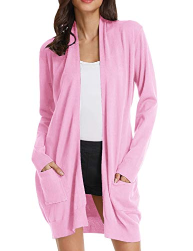 GRACE KARIN Women's Plus Size Long Sleeve Soft Knit Cardigan Sweater (3XL,Baby Pink)