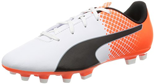 Puma Evospeed 5,5 Ag Jr Chaussures de Foot Blanc/Noir/Orange Shocking 1