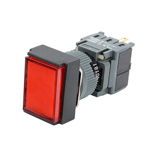 (Aexit AC 220V Control electrical SPDT NO NC 6 Pins Latching Red Rect Head Push Button Switch Red Light)