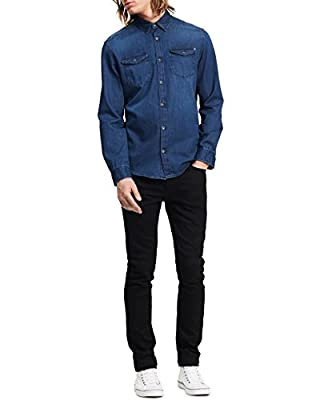Calvin Klein Men's Long Sleeve Basic Denim Shirt, Worn Indigo, Large