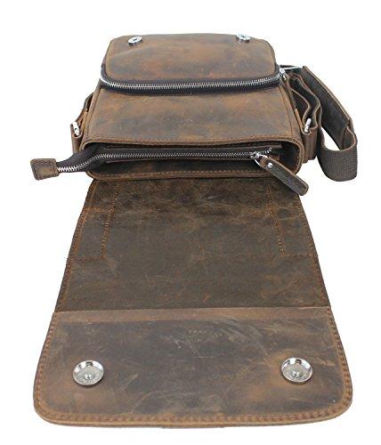 """10"""" Cowhide Leather Crossbody Satchel Bag L77. Db"""