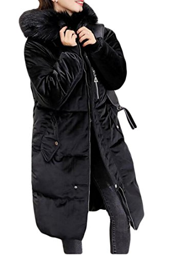 amp;W Lining Women's M Cotton Black Parka Hooded Faux Velvet Fur Coat Long amp;S Jacket 5w44EPqRx