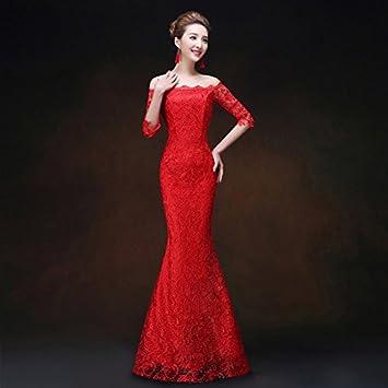 JKJHAH Vestido De Novia Cheongsam Rojo Vestido De Cola De Pez De Encaje Vestido De Novia