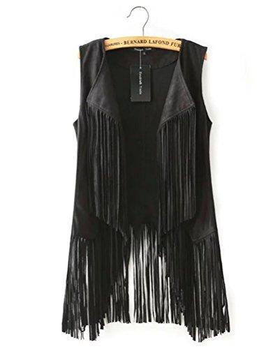 Huafeiwude Womens Fringe Suede Vest Cardigan Waistcoat Jacket Outwear Tops Black L