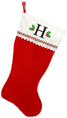 Monogrammed Me Embroidered Initial Christmas Stocking, Red and White Felt, Initial H (Monogrammed Christmas Stocking)
