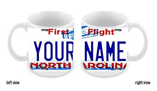 BleuReign(TM) Personalized Custom Name North Carolina License Plate 11oz Ceramic Coffee ()