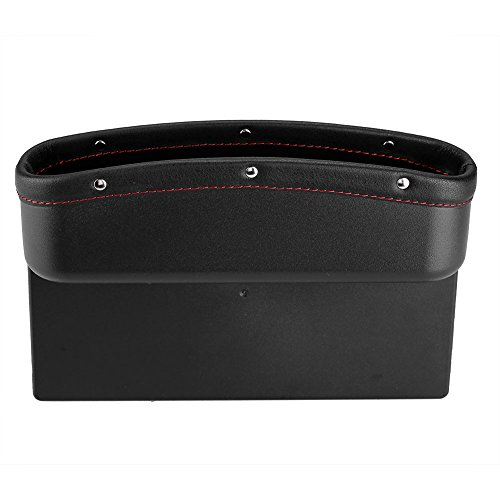 - Delaman Car Seat Organizer Leather Storage Container Box Console Side Pocket with Non-Slip Mat for Cellphone Wallet Coin Key Card (Black)