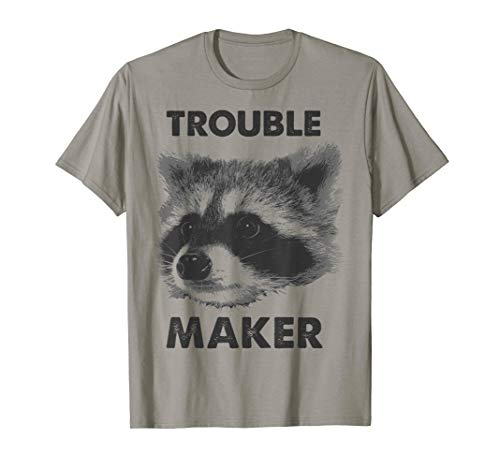 Trouble Maker Big Raccoon Face Black & White Graphic T-Shirt