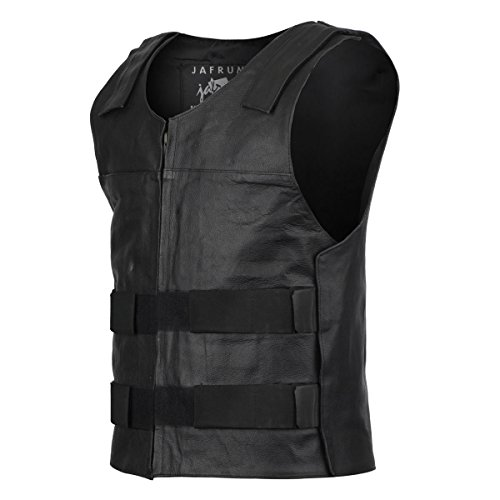 Bullet Proof Style Motorcycle Biker Leather Vest - Leather Fully Vest Lined