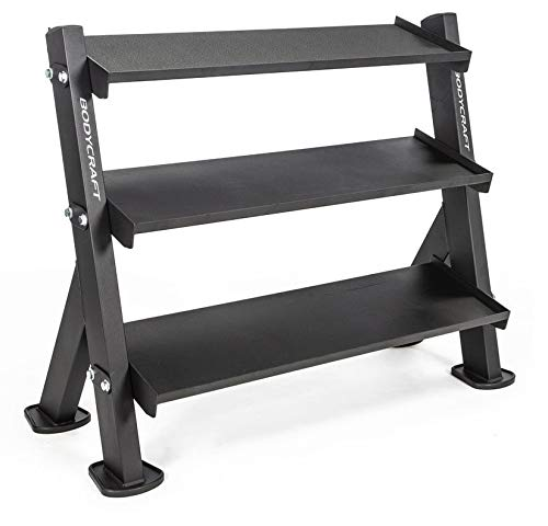 Bodycraft F530 46″ 3-Tier Hex Dumbbell Rack/Kettlebell Rack/Gym Accessory Rack with Reversible Top Tier