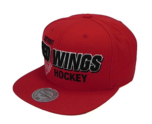 Detroit Red Ness Wings - Mitchell & Ness Detroit Red Wings Men's Snapback Blocker Hat Cap Red One Size Nhl