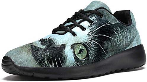 LORVIES Zapatos para caminar para hombres Zapatos casuales con cordones ligeros para correr Animal Cat Head Art Painting Zapatilla