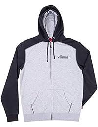 Men's Full-Zip Hoodie Sweatshirt with Icon Logo, Black/Gray