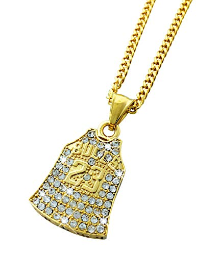 (Exo Jewel 18k Gold Plated Diamond Number 23 Baketball Jersey Pendant Stainless Steel Necklace with 24