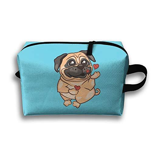 Bulldog Kisses Love Cosmetic Bags Makeup Organizer Bag Pouch Zipper Purse Handbag Clutch Bag
