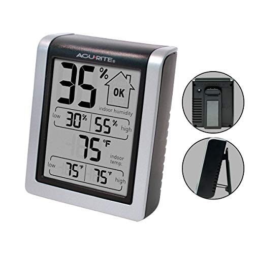 AcuRite 00613 Digital Hygrometer & Indoor Thermometer Pre-Calibrated Humidity Gauge, 3″ H x 2.5″ W x 1.3″ D