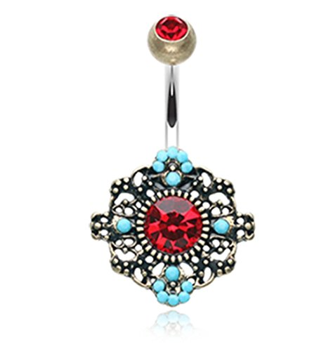 Vintage Boho Filigree Flower 316L Surgical Steel Freedom Fashion Belly Button Ring (Sold Individually) (14GA, 3/8