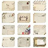 Set of 12 Vintage Mini / Small European Style Airmail Envelope for Greeting Cards
