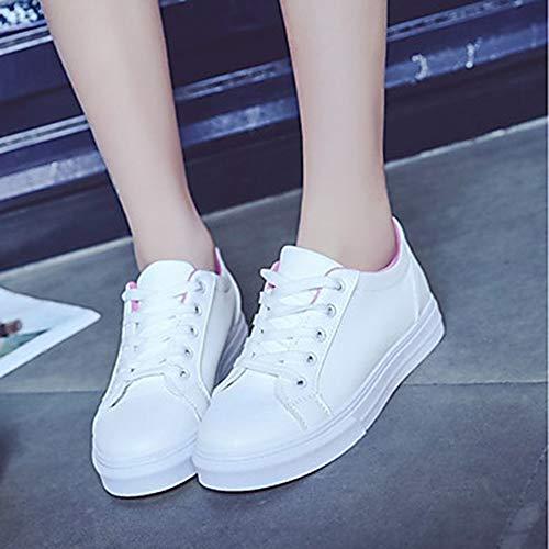 rosa tacco sneakers da primavera TTSHOES piatto poliuretano PU blu scarpa punta tonda bianco comfort autunno rosa donna ZR5W8zxn